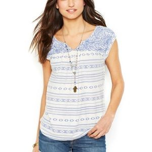 Lucky Brand White & Blue Embroidered Top Medium